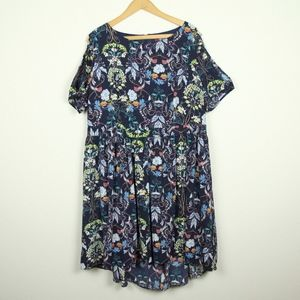 Lovedrobe Plus Size 20 Cold Shoulder Floral Dress
